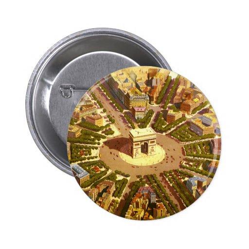 Vintage Travel, Arc de Triomphe Paris France 2 Inch Round Button