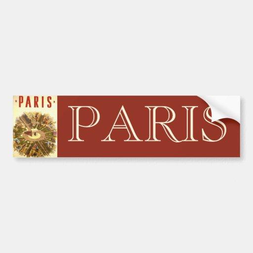 Vintage Travel, Arc de Triomphe Paris France Bumper Stickers