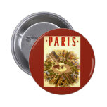 Vintage Travel, Arc de Triomphe Paris France Pinback Buttons