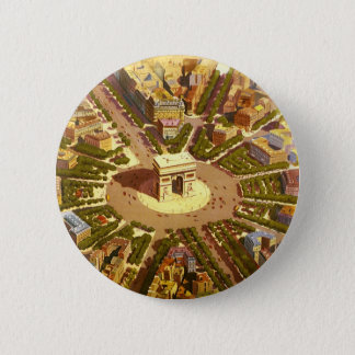 Vintage Travel, Arc de Triomphe Paris France Button