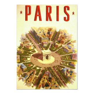 Vintage Travel, Arc de Triomphe Paris France 5x7 Paper Invitation Card