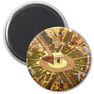 Vintage Travel, Arc de Triomphe Paris France 2 Inch Round Magnet