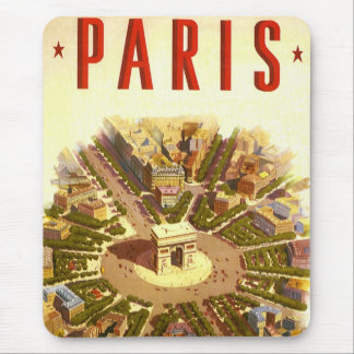 Vintage Travel, Arc de Triomphe Paris France Mouse Pad