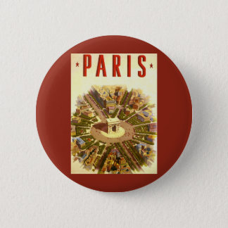 Vintage Travel, Arc de Triomphe Paris France Pinback Button