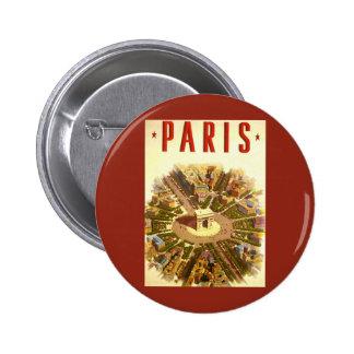 Vintage Travel, Arc de Triomphe Paris France Pinback Button