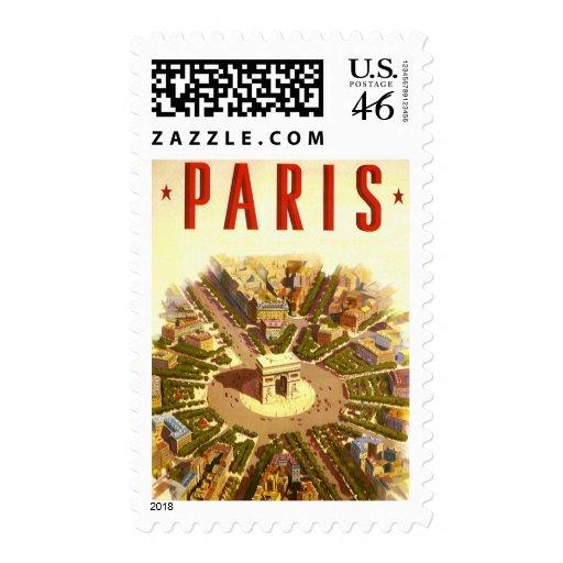 Vintage Travel, Arc de Triomphe Paris France Postage Stamp