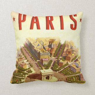 Vintage Travel, Arc de Triomphe Paris France Throw Pillow