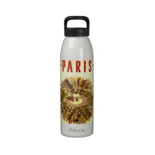 Vintage Travel, Arc de Triomphe Paris France Water Bottle