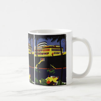 Vintage Travel, Art Deco Cruise Ship in Port Coffee Mug