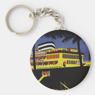 Vintage Travel, Art Deco Cruise Ship in Port Keychain