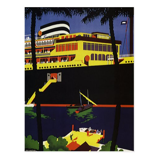 Vintage Travel Art Deco Cruise Ship In Port Postcard  Zazzle