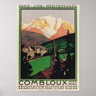 Vintage Travel Art Deco Poster Combloux, France