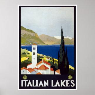 Vintage Travel Art Deco Poster Italian Lakes