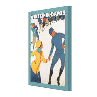 Vintage Travel Art Deco Winter Davos Switzerland Stretched Canvas Print