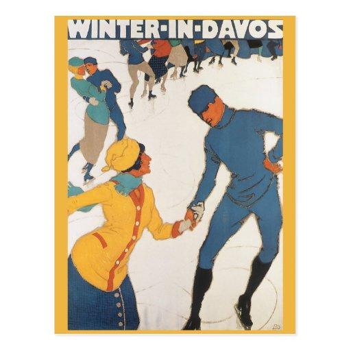 Vintage Travel, Art Deco, Winter Davos Switzerland Postcard