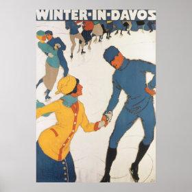 Vintage Travel, Art Deco, Winter Davos Switzerland Print