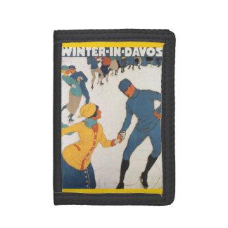 Vintage Travel, Art Deco, Winter Davos Switzerland Trifold Wallet