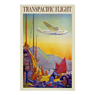 Vintage Travel Asia Far East By Airplane Poster