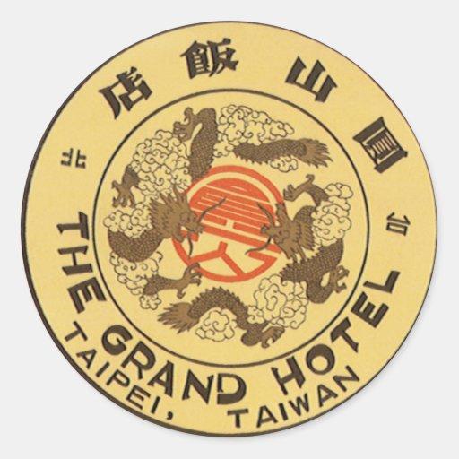 Vintage Travel Asia, Grand Hotel, Taipei, Taiwan Stickers