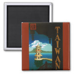 Vintage Travel Asia, Taiwan Pagoda Tiered Tower 2 Inch Square Magnet