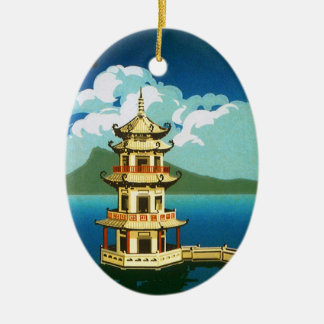 Vintage Travel Asia, Taiwan Pagoda Tiered Tower Ceramic Ornament