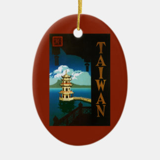 Vintage Travel Asia, Taiwan Pagoda Tiered Tower Double-Sided Oval Ceramic Christmas Ornament