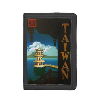 Vintage Travel Asia, Taiwan Pagoda Tiered Tower Trifold Wallet