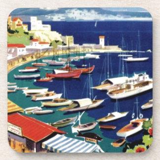 Vintage Travel Athens Greece Drink Coaster