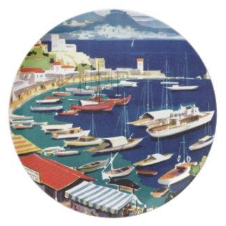 Vintage Travel Athens Greece Melamine Plate