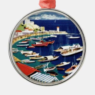 Vintage Travel Athens Greece Metal Ornament
