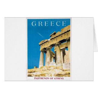Vintage Travel Athens Greece Parthenon Temple Card