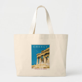 Vintage Travel Athens Greece Parthenon Temple Large Tote Bag