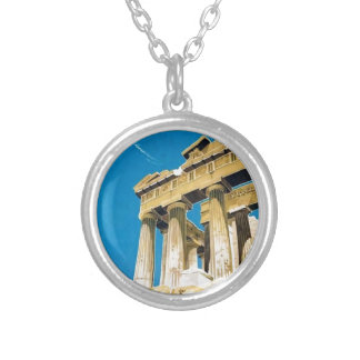 Vintage Travel Athens Greece Parthenon Temple Silver Plated Necklace