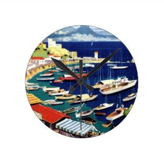 Vintage Travel Athens Greece Round Clock