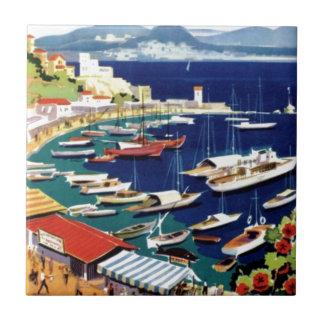Vintage Travel Athens Greece Tile