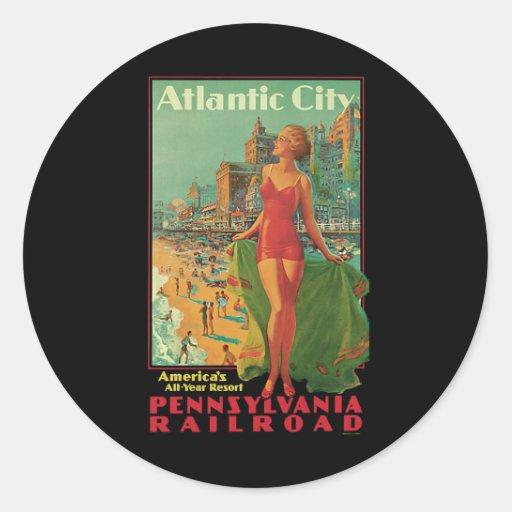 Vintage Travel; Atlantic City Resort, Beach Blonde Classic Round Sticker