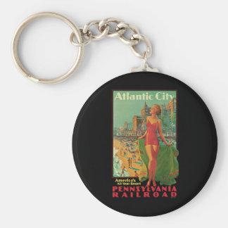 Vintage Travel; Atlantic City Resort, Beach Blonde Basic Round Button Keychain