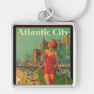 Vintage Travel; Atlantic City Resort, Beach Blonde Silver-Colored Square Keychain