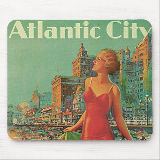 Vintage Travel; Atlantic City Resort, Beach Blonde Mouse Pad