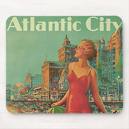 Vintage Travel, Atlantic City Resort Beach Blonde Mouse Pad
