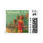 Vintage Travel; Atlantic City Resort, Beach Blonde Postage Stamp