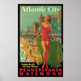 Vintage Travel; Atlantic City Resort, Beach Blonde Print