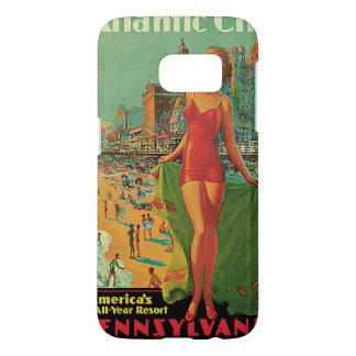 Vintage Travel; Atlantic City Resort, Beach Blonde Samsung Galaxy S7 Case