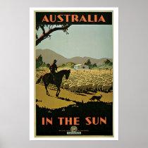 Vintage Travel Australia Sheep Farm Poster