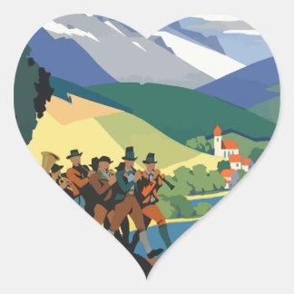 Vintage Travel Austria Heart Sticker