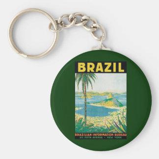 Vintage Travel Beach Coast, Rio de Janeiro Brazil Key Chain