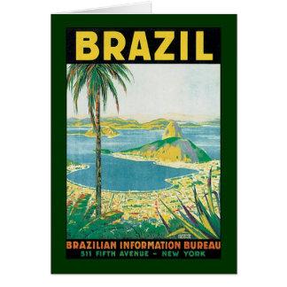 Vintage Travel Beach Coast, Rio de Janeiro Brazil Stationery Note Card