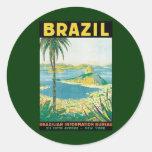 Vintage Travel Beach Coast, Rio de Janeiro Brazil Classic Round Sticker
