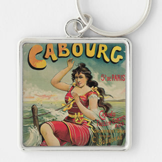 Vintage Travel, Beach Resort, Cabourg France Silver-Colored Square Keychain