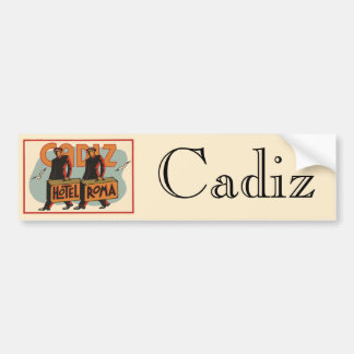 Vintage Travel Bellhops Hotel Roma, Cadiz, Spain Bumper Sticker